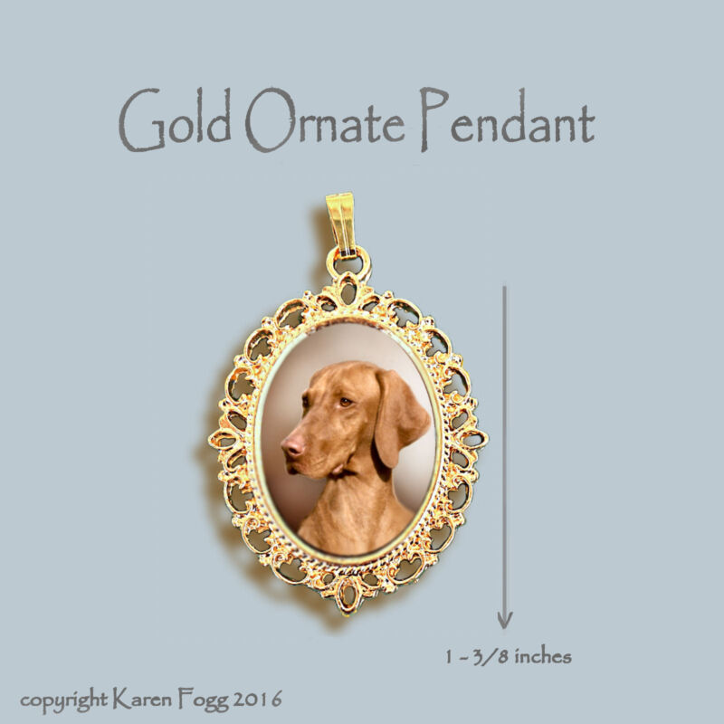 VIZSLA DOG - ORNATE GOLD PENDANT NECKLACE
