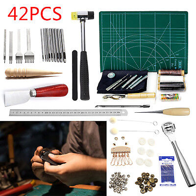 42X Leather Punch Carving Work Sewing Saddle Making Tools Craft Groover Tool Kit
