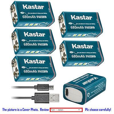 Kastar USB Rechargeable Li-ion 9Volt 6F22 Battery for Energizer EN22 6LF22 6AM6