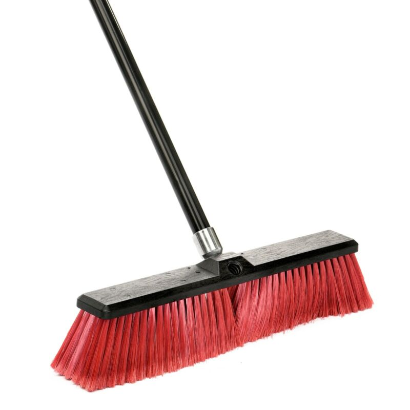 Alpine Industries 18 in Red Brush Smooth Surface Foam Grip Commercial Push Broom