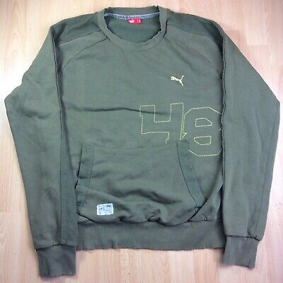 Puma Extra-Large (XL) Green Long Sleeved Crew Neck Sweatshirt Jumper Retro 90's