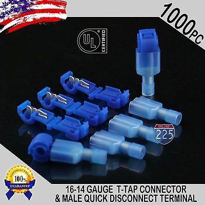 1000 T-taps Male Disconnect Wire Connectors Blue 16-14 Gauge Terminals Ul