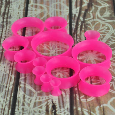 Pink Flexible Silicone - Pair Pink Thin Silicone Flexible Ear Skin Tunnels Plugs Gauge Earlets Earskin