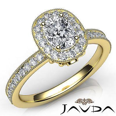 Cushion Cut Halo Pave Set Diamond Engagement Ring GIA F VS2 18k Yellow Gold 1Ct