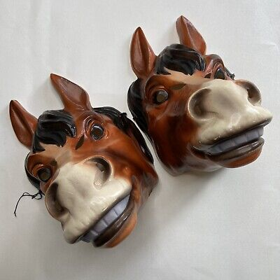 Vintage Animal Halloween Masks (Vintage Horse Masks Lot Of 2 Halloween Costume Farm Animal VTG Plastic Mask)