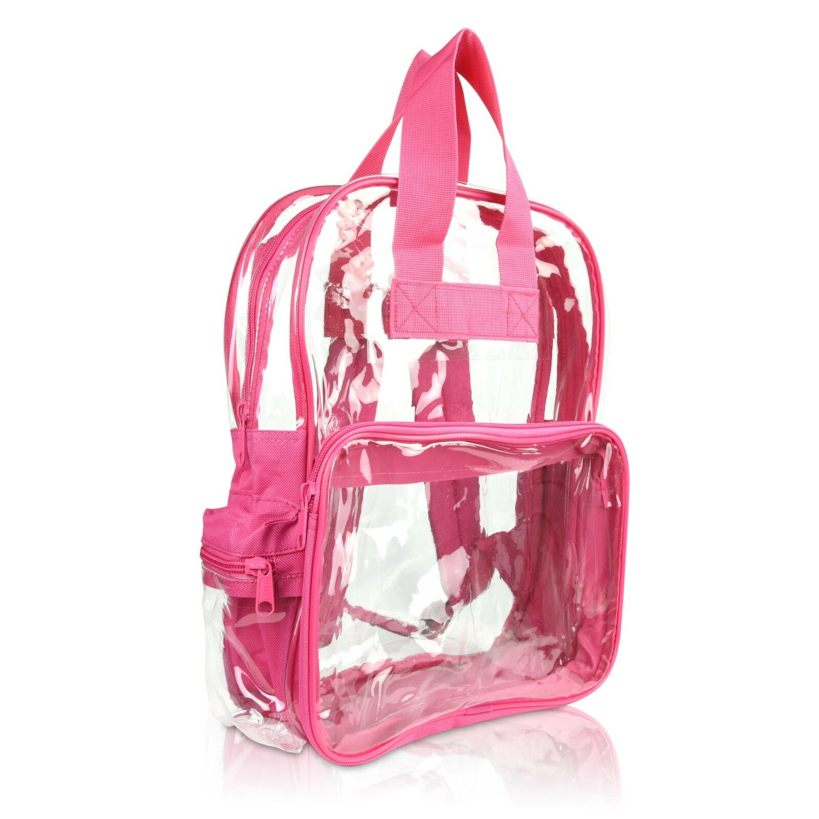 DALIX Clear Backpack School Pack See Through Bag in Hot Pink