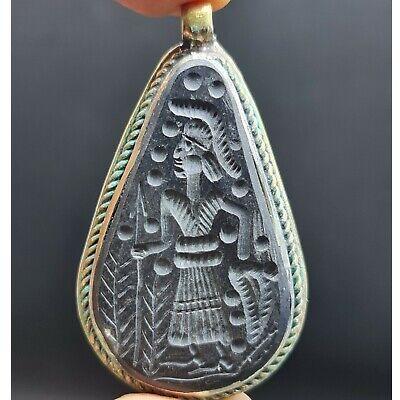 Wonderful old jade intaglio stone love silver silver Pendant  #145