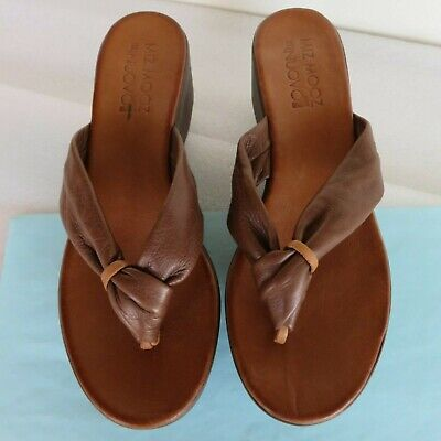 New~Miz Mooz The Inuovo Wedge Sandal Sz 40/9 Brown Soft Leather Thong Flip Flop
