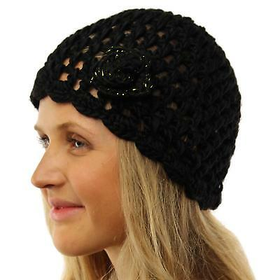 Ladies Winter Handknit Crochet Flower Knit Beanie Skull Ski Snow Hat Cap Black