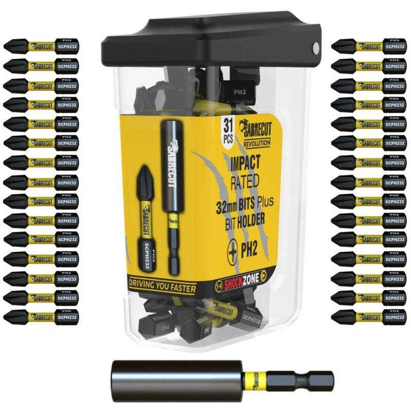 SabreCut Revolution PH2 Impact Drill Screwdriver Bits Set + Magnetic Holder 31pc