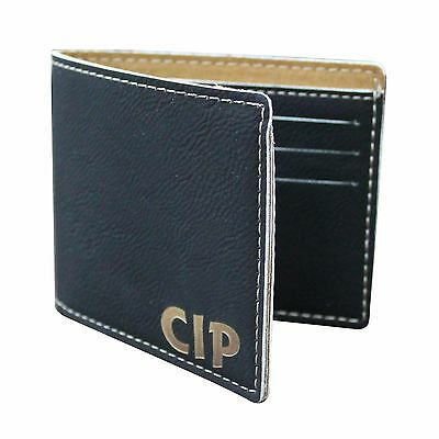 Personalized Engraved Black Leather Bi Fold Wallet