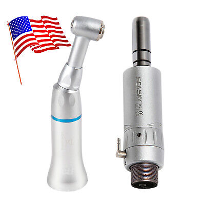 Dental Slow Speed Handpiece Push Button Contra Angle Air Motor E-type 2-holes Us
