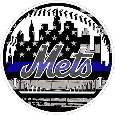 Mets Plastic Tumblers - New York Mets Thin Blue Line MLB Color Vinyl Decal / Sticker Sizes Free Shipping