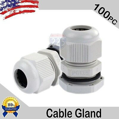 100 Pcs PG13.5 White Nylon Waterproof Cable Gland 6-12mm Dia w Lock-Nut & Gasket