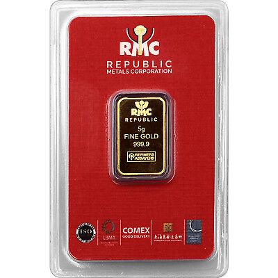Republic Metals Corporation 5 Gram Gold Bar