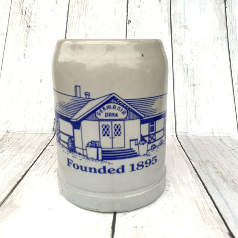GERMANIA DARK Founded 1895 0.5L Beer Mug Stein Stoneware Made In West Germany