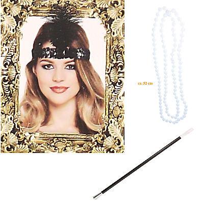 Perlen Flapper Kostüm (Damen Charleston Zubehör Set Flapper Perlenkette Zigarrettenhalter Haarband)