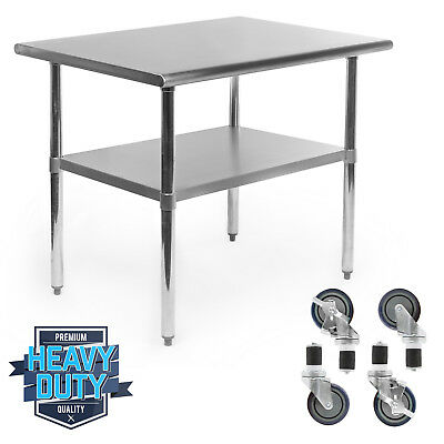 Stainless Steel Commercial Kitchen Work Food Prep Table W 4 Casters - 24 X 36