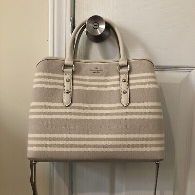 Kate Spade Larchmont Avenue Fabric Stripe Evangelie Women's Satchel Handbag Stripe Fabric Handbags