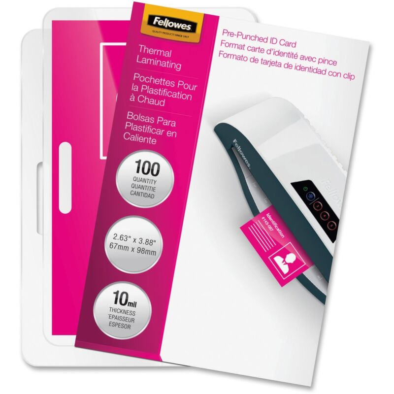 """Fellowes Laminated Business Pouches Glossy 3-7/8""""x2-5/8"""" 10mil 100/PK 52051"""