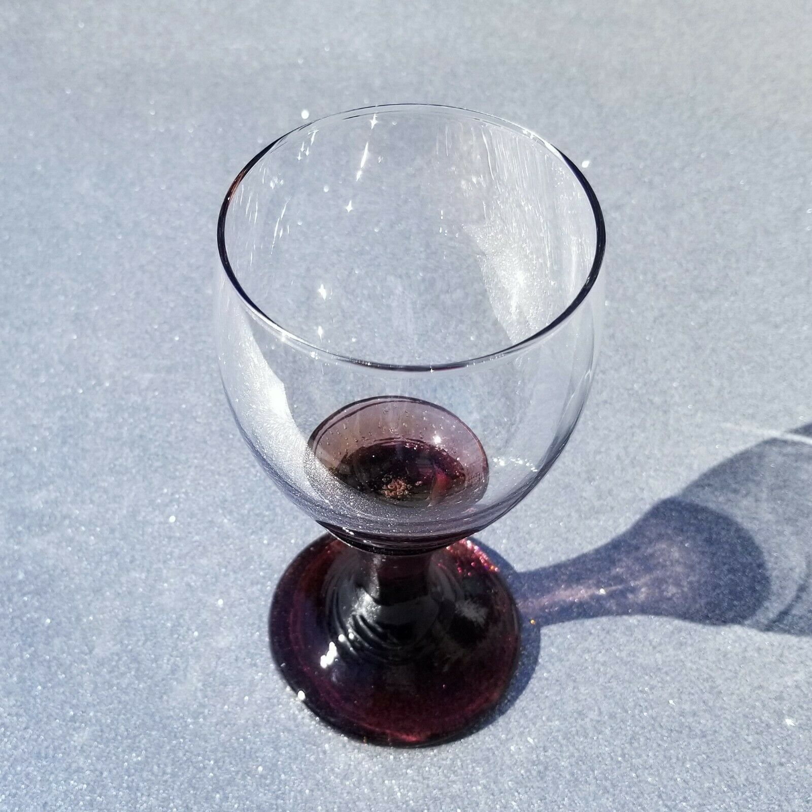 BRAND NEW SIGNED Plum Goblet Fire And Light Recycled Glass  - $175.00