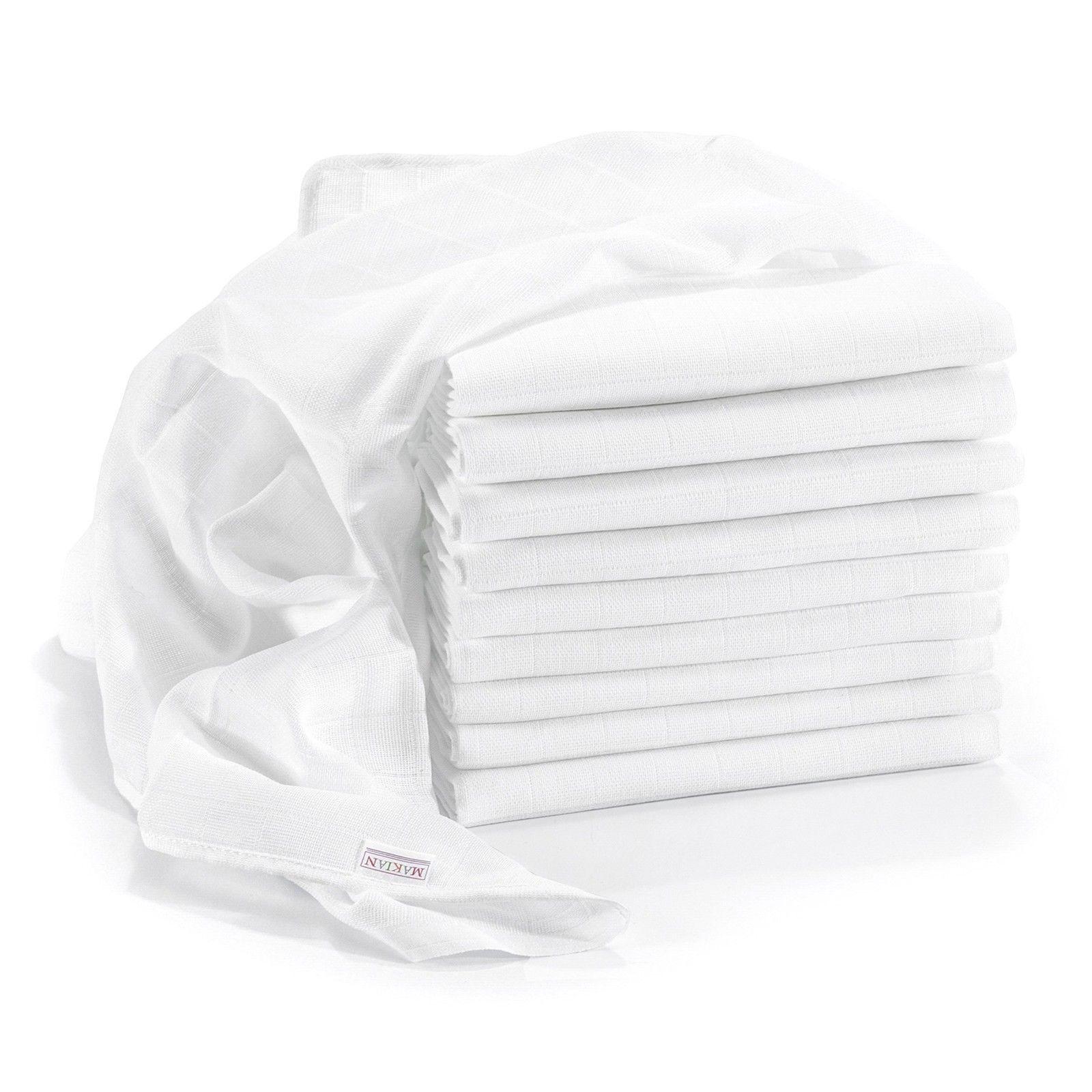 ClevereKids  3 Stück Stoffwindeln Premium weiß 70x80 cm doppelt gewebt
