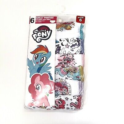 My Little Pony Girls Panties Size 6 Assorted Cotton Underwear 6pk