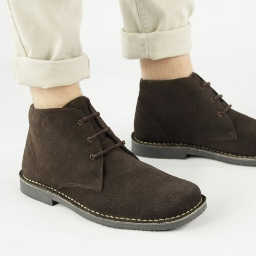 Roamers Mens Leather Suede Lace Up Square Wide Fitting Casual Ankle Desert Boots