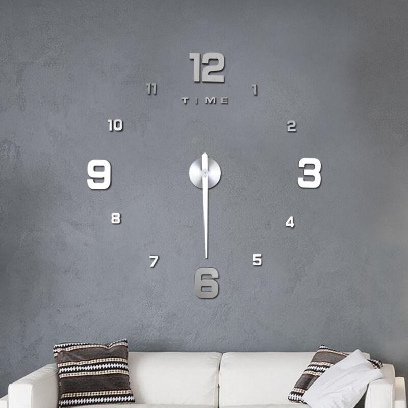 Wanduhr Deko Spiegel Wandtattoo 3D Disign Wand Uhr