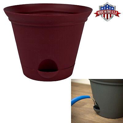 Salsa Red Plastic Self Watering Flower Pot Garden Planter 7, 9.5, or 11.5 Inch ()