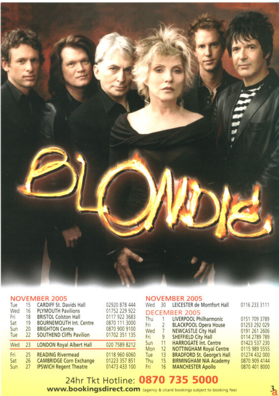 Blondie UK Tour 2005 Flyer glossy Deborah Harry concert promo Debbie Harry