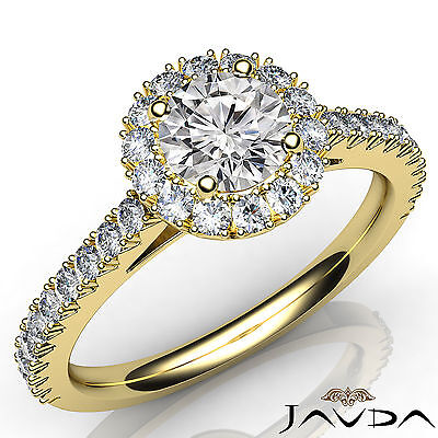 French Pave Set Halo Round Diamond Engagement Anniversary Ring GIA H SI1 1.73 Ct