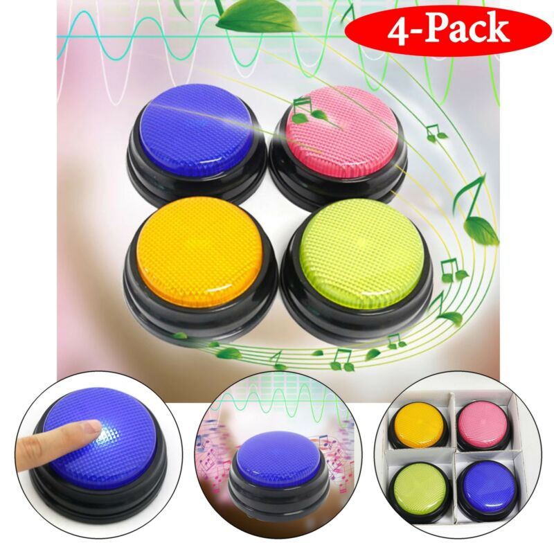 Recordable Talking Button Led Function Learning Resources Test 4 Colors Set Gift