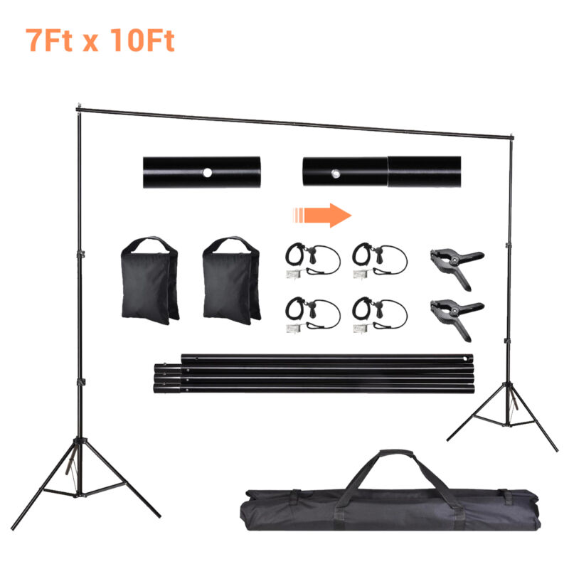 10ft Adjustable Backdrop Support Stand Photography Background Photo Crossbar Kit