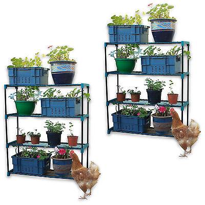4 Tier 2pc Garden Flower Shelves Potted Greenhouse Pots Storage Shelf Rack Stand