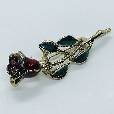 Enamel Red Rose Unsigned Gold Tone Brooch Pin - Gold Enameled Red Rose