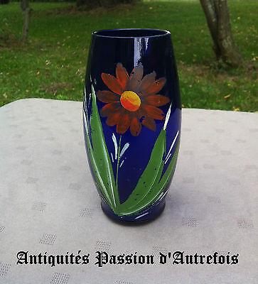 B20121160 - Petit vase en verre début 1900 peint mains en très bon état