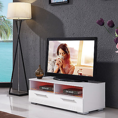 مكتبة تلفزيون جديد TV Stand Unit Entertainment Cabinet White High Gloss LED Shelves & 2 Drawers