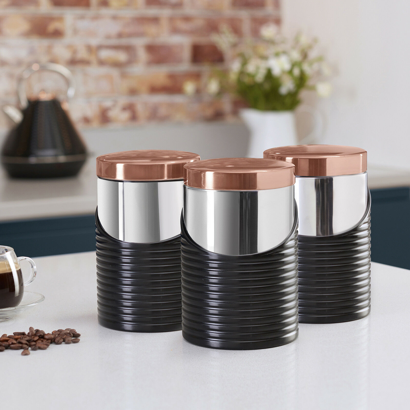 Tower T826001rb Linear Kitchen Canister Set Black Rose Gold Sugar Tea Coffee Ebay