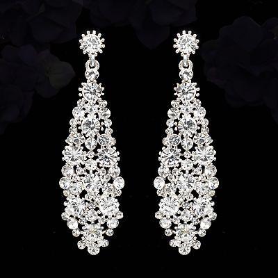 Silver Plated Clear Crystal Rhinestone Wedding Bridal Drop Dangle Earrings 05573