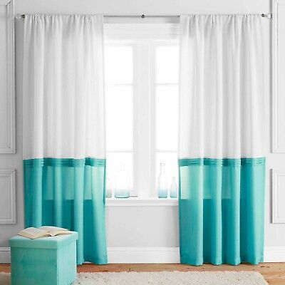 NEW Better Homes and Gardens teal/White Block Curtain Panel 52 X