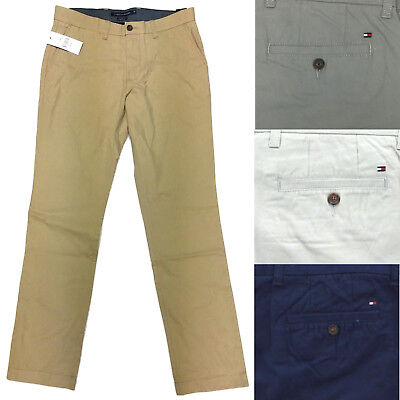Tommy Hilfiger Mens Cotton Flat Front Tailored Fit Chino Casual Dress - Tailored Dress Pants