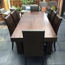8 piece Leather and Wood Extendable Dining Table Aspendale Gardens Kingston Area Preview