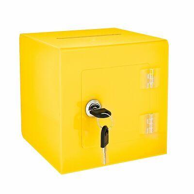 Adiroffice Yellow Acrylic Rear Door Ballot Box Suggestion Comment Donation Box