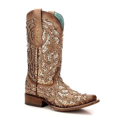 Corral Ladies Orix Glittered Inlay And Stud Boot C3275