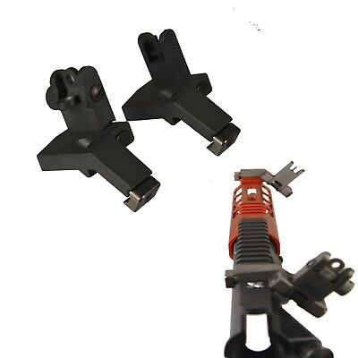 US! Metal Flip Up Front & Rear 45 Degree Offset Adjustable Iron Sights Set Pair