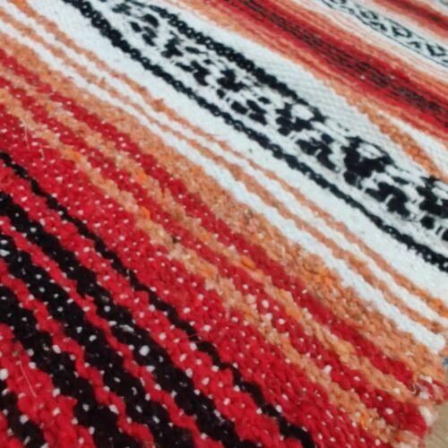 "Authentic Mexican 39""x59"" Blanket Cobija Falsa Red & Black Rojo y Negro Good"