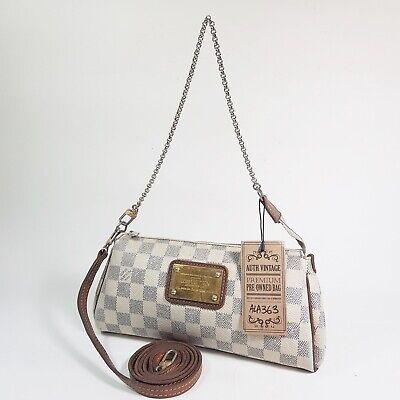 Auth Louis Vuitton Eva Clutch Damier Azur N55214 Guarantee Genuine Clutch ALA363
