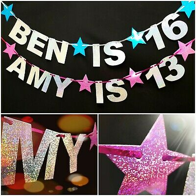 Happy Birthday Bunting Banner Party Decoration 13th 16th 18th 1st personalised