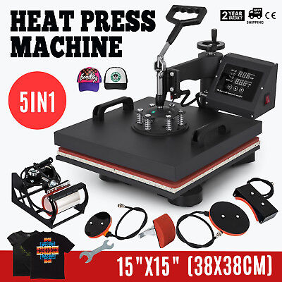 15x15 5in1 Combo T-shirt Heat Press Transfer Digital Clamshell Swing Away
